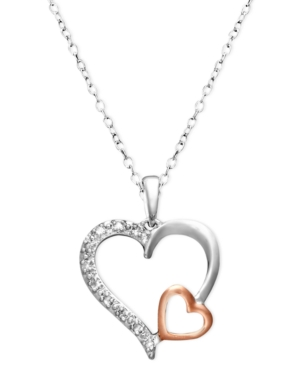 18k Rose Gold Over Sterling Silver and Sterling Silver Necklace, Diamond Accent Double Heart Pendant