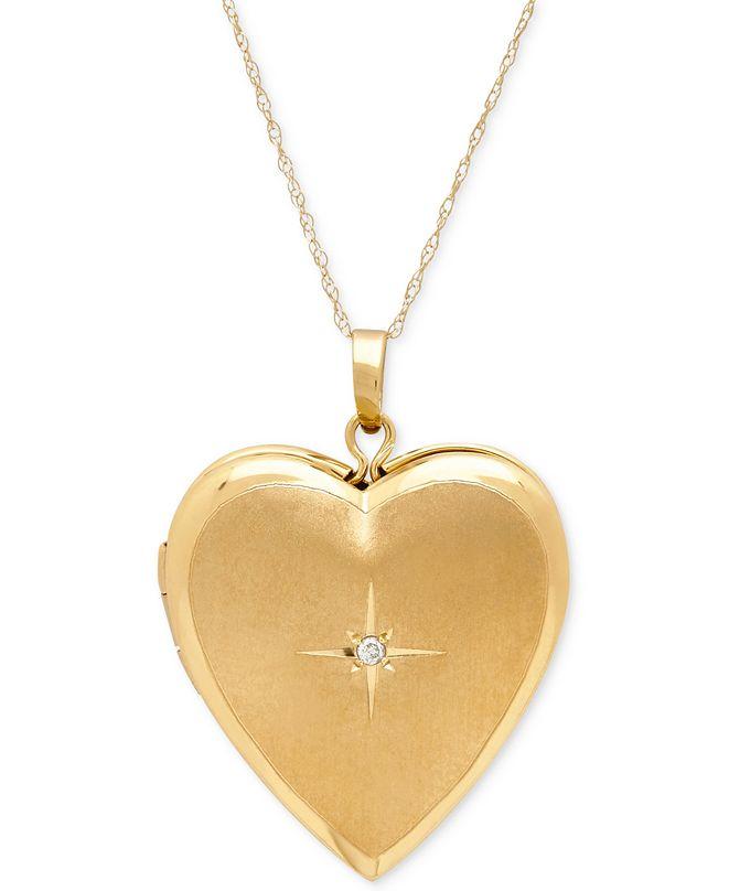 Italian Gold Diamond Accent Heart Locket Pendant Necklace in 10k Gold