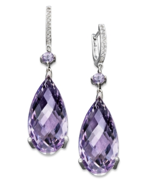 Sterling Silver Earrings, Pink Amethyst (23 ct. t.w.) and Diamond Accent Teardrop