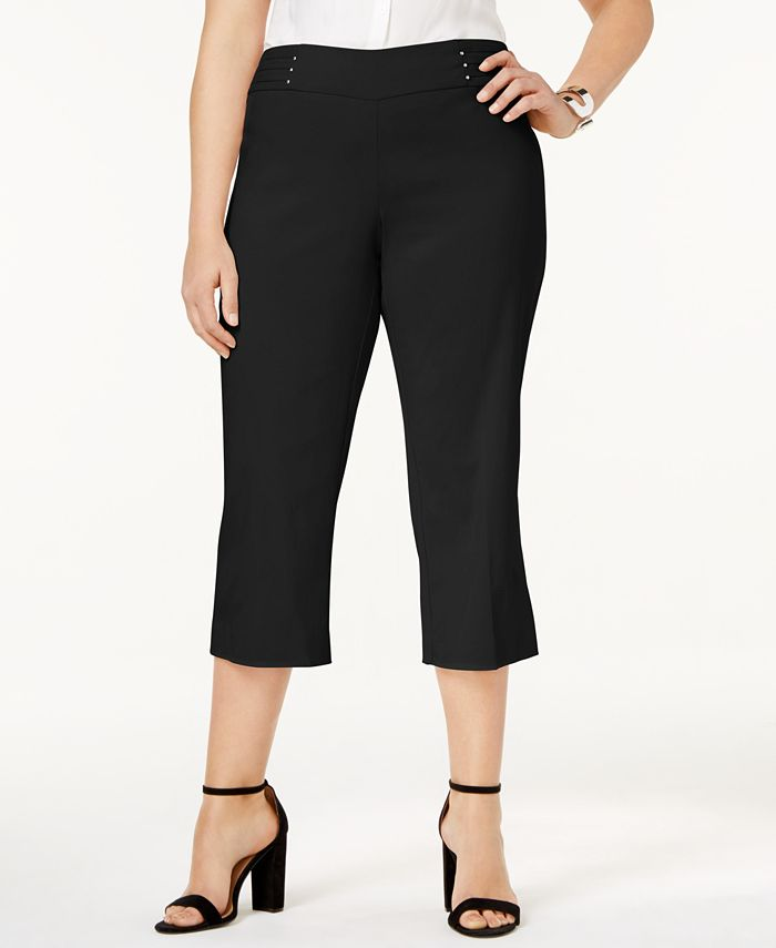 JM Collection - Plus Size Pull-On Cropped Pants