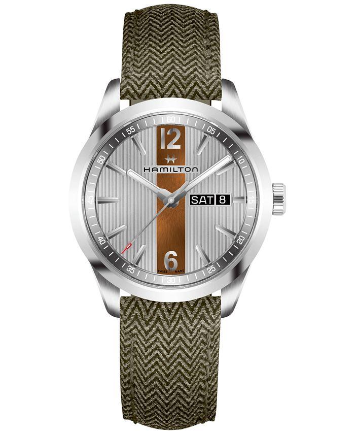Hamilton - Men's Swiss Broadway Green Fabric Strap Watch 40mm