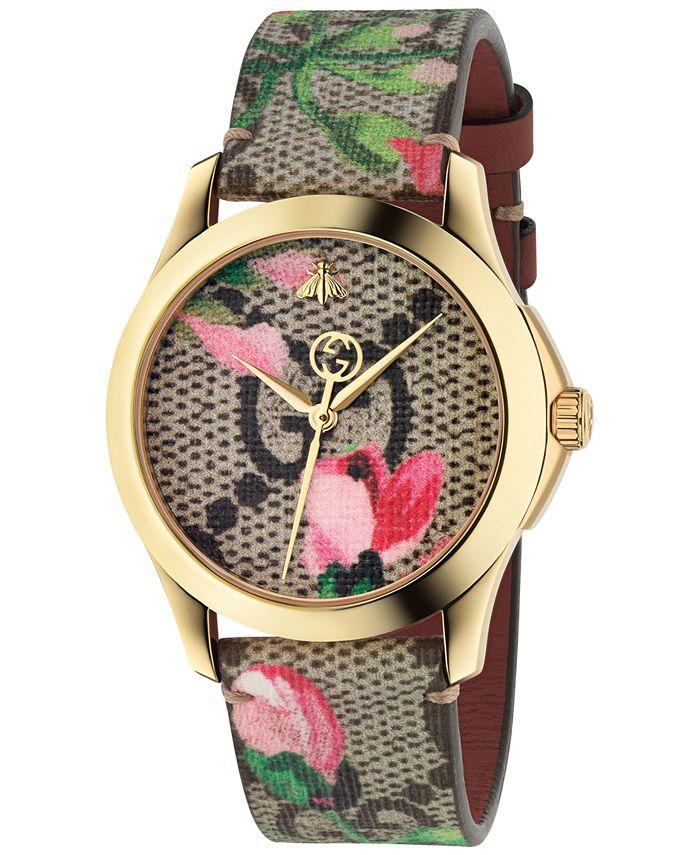 Gucci - Women's Swiss G-Timeless Pink Blooms Canvas Strap Watch 38mm