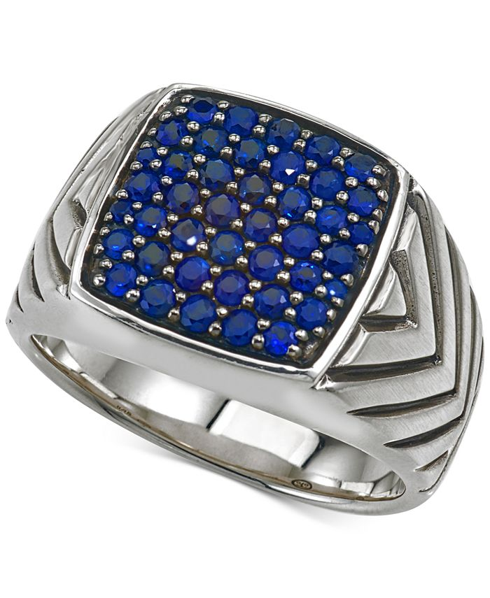 Esquire Men's Jewelry - Sapphire Cluster Ring (1 3/8 ct. t.w.) in Sterling Silver