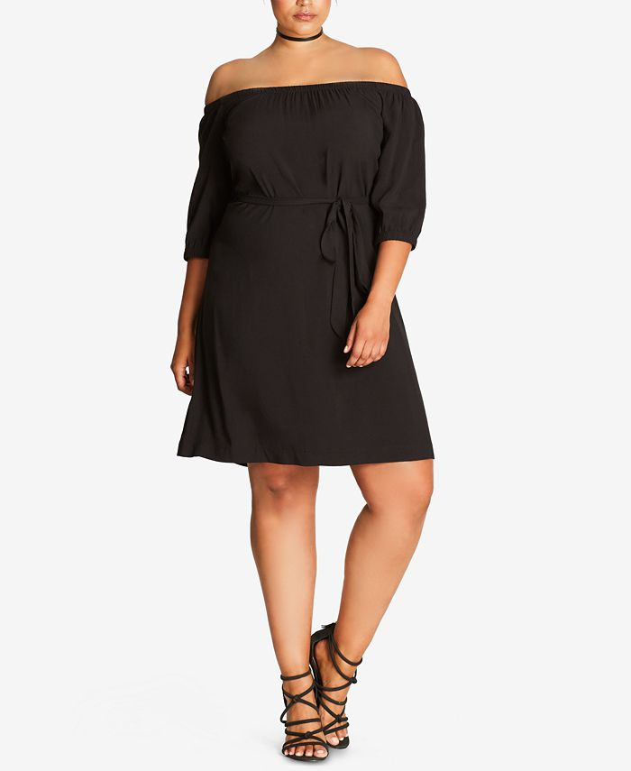 City Chic - Trendy Plus Size Off-The-Shoulder Shift Dress
