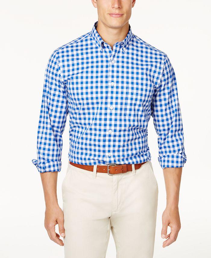 Club Room - Men's Stretch Gingham Shirt
