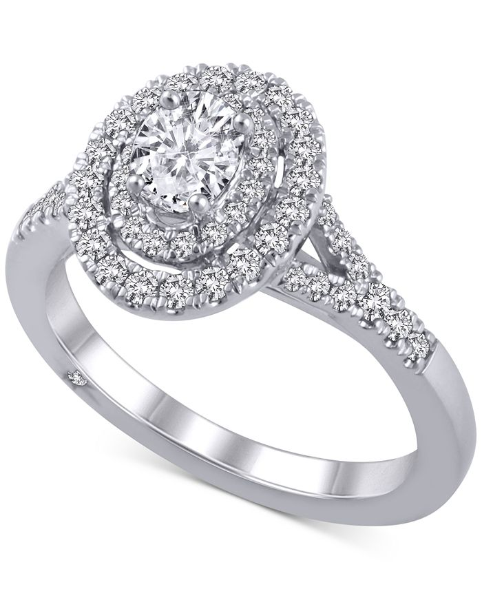 Marchesa - Diamond Oval Halo Ring (1 ct. t.w.) in 18k  White Gold