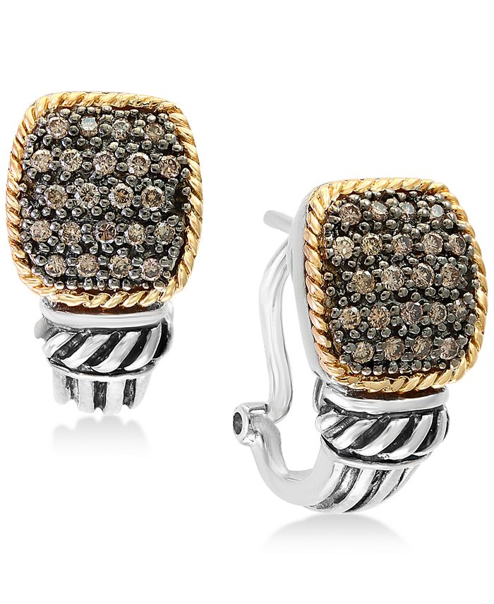 EFFY Collection - Diamond Pavé Cluster Drop Earrings (1/3 ct. t.w.) in Sterling Silver & 18k Gold