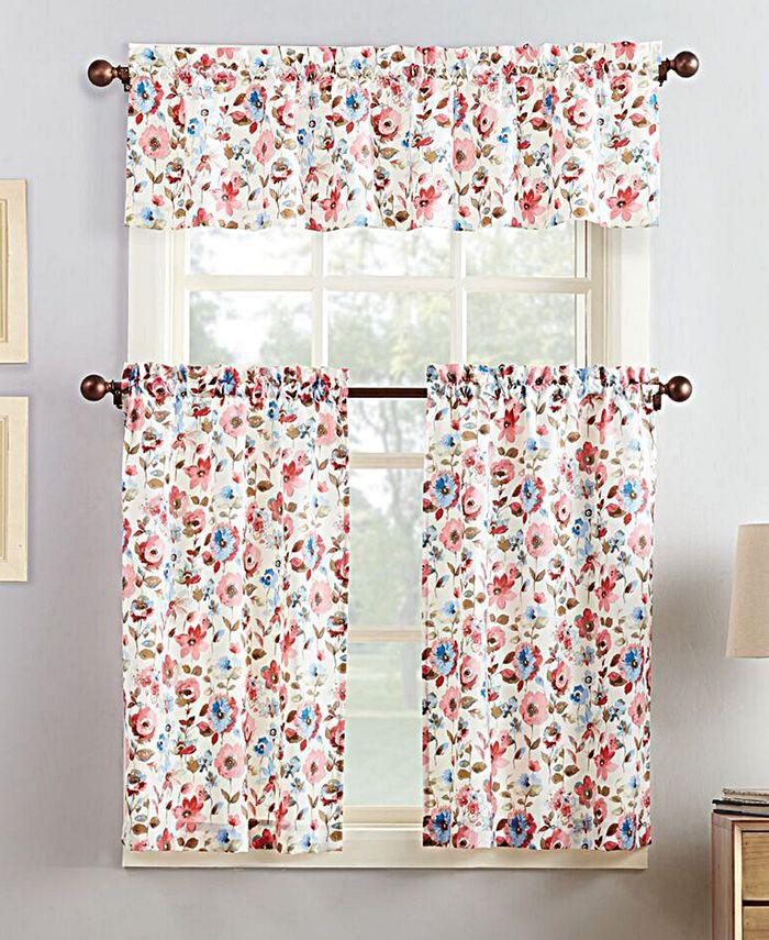 No. 918 - Deana 3-Pc. Floral-Print Microfiber Rod Pocket Kitchen Curtain Set