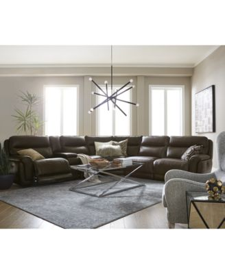 Summerbridge 3-Pc. Leather Sectional Sofa with 2 Power Reclining Chairs, Power Headrests and USB Power Outlet