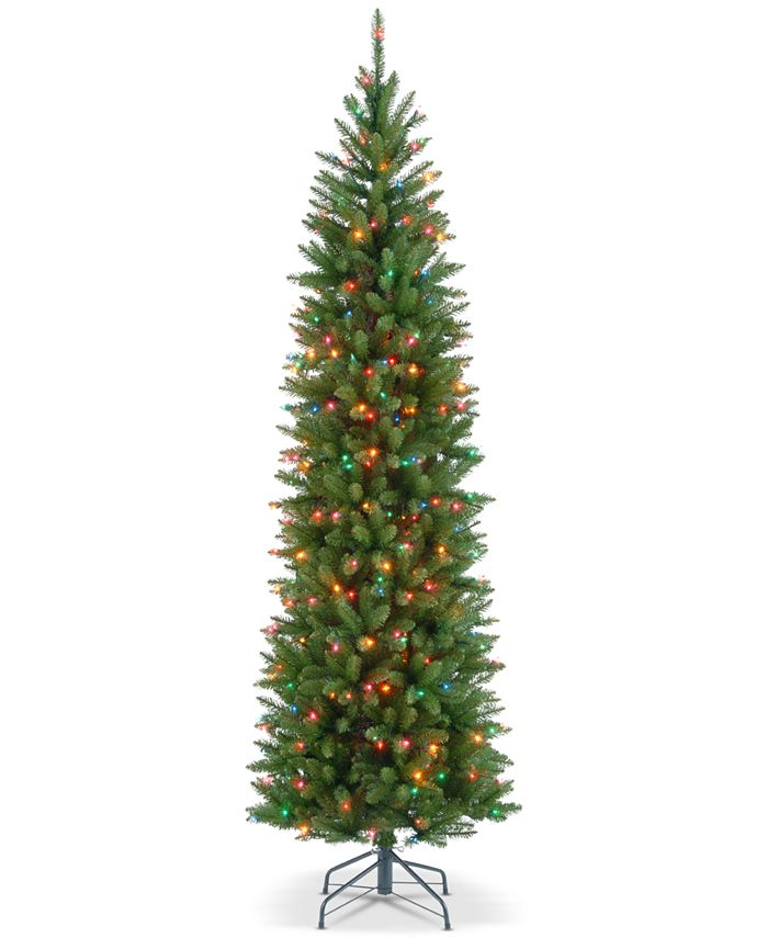 National Tree Company - 6.5' Kingswood Fir Hinged Pencil Tree With 250 Multicolor Lights