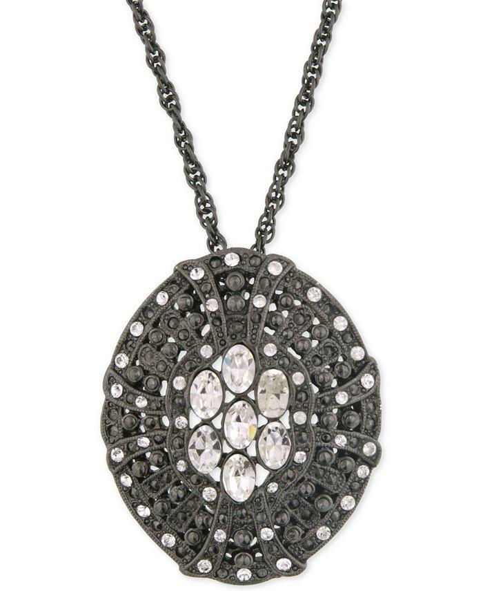 2028 - Black-Tone Crystal Disc Pendant Necklace