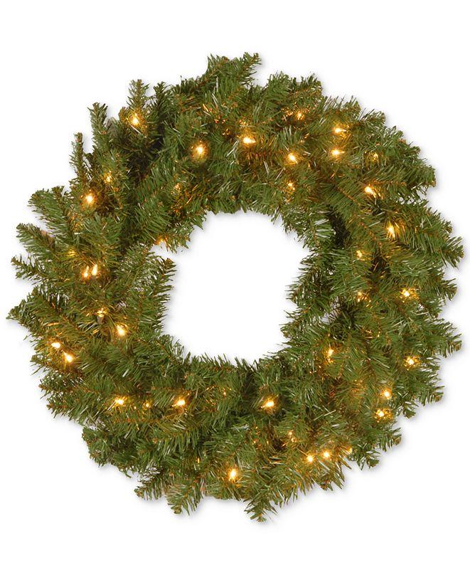 "National Tree Company 24"" Kincaid Spruce Wreath With 50 Clear Lights"