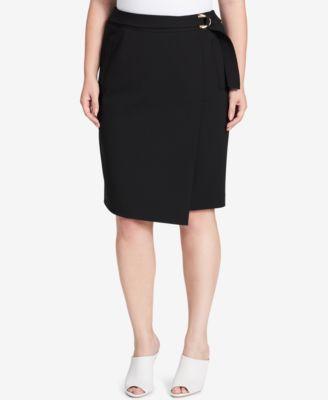 Calvin Klein Plus Size Faux-Wrap Pencil Skirt