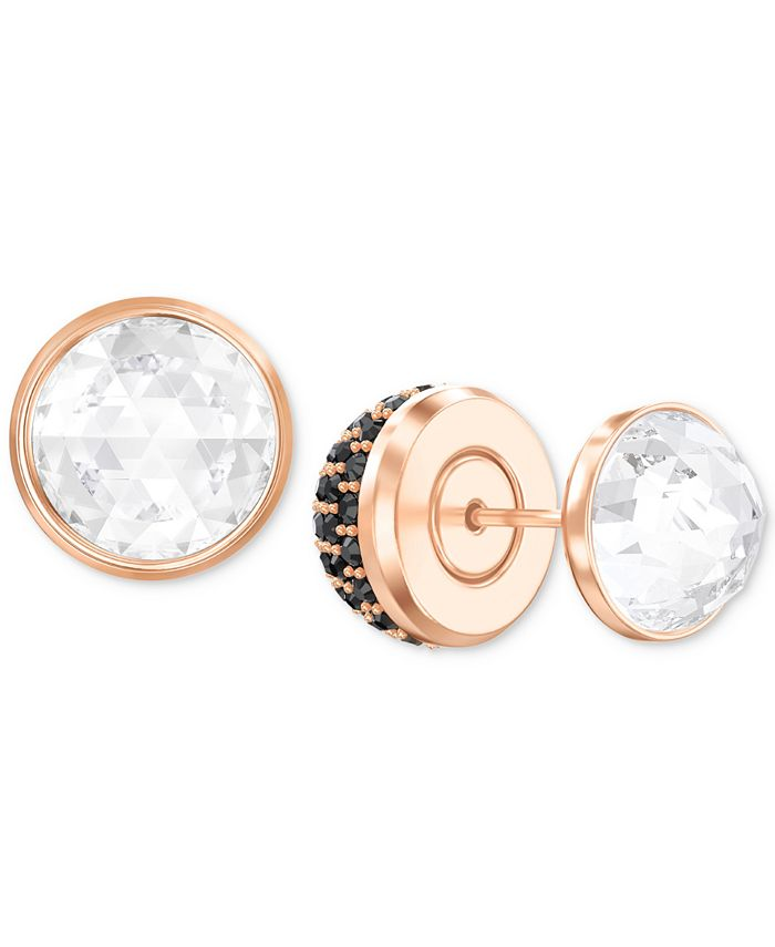Swarovski - Rose Gold-Tone Pavé Crystal Front & Back Earrings