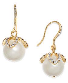 Charter Club Gold-Tone Imitation Pearl & Pavé Drop Earrings, Created for Macy's