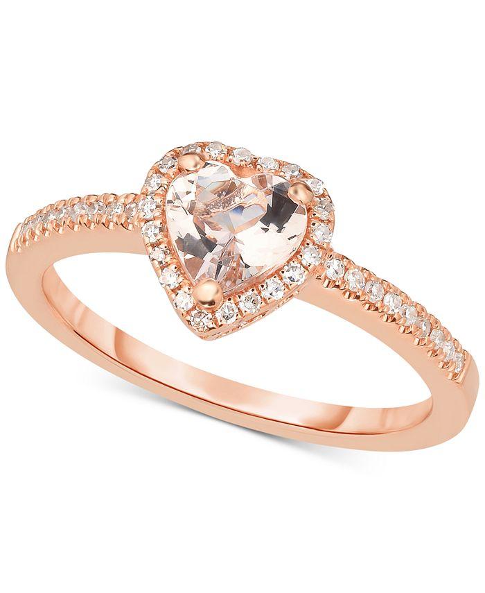 Macy's - Morganite (5/8 ct. t.w.) & Diamond (1/6 ct. t.w.) Ring in 14k Rose Gold