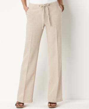 Charter Club Pants, Straight Leg Pull On Linen