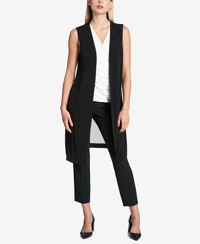 DKNY - Sheer-Back Long Vest