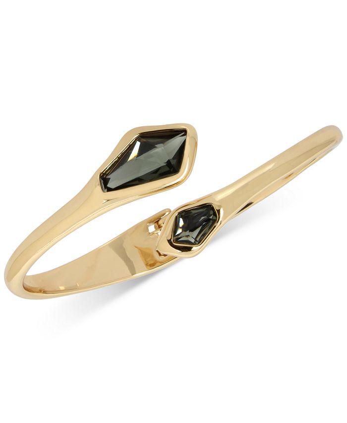 Robert Lee Morris Soho - Gold-Tone Green Stone Hinged Bangle Bracelet