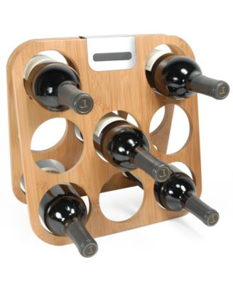 Metrokane Wine Rack, Bamboo with 8 Bottle Storage