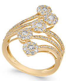 Diamond Multiple Cluster Waterfall Statement Ring (1 ct. t.w.) in 14k Gold