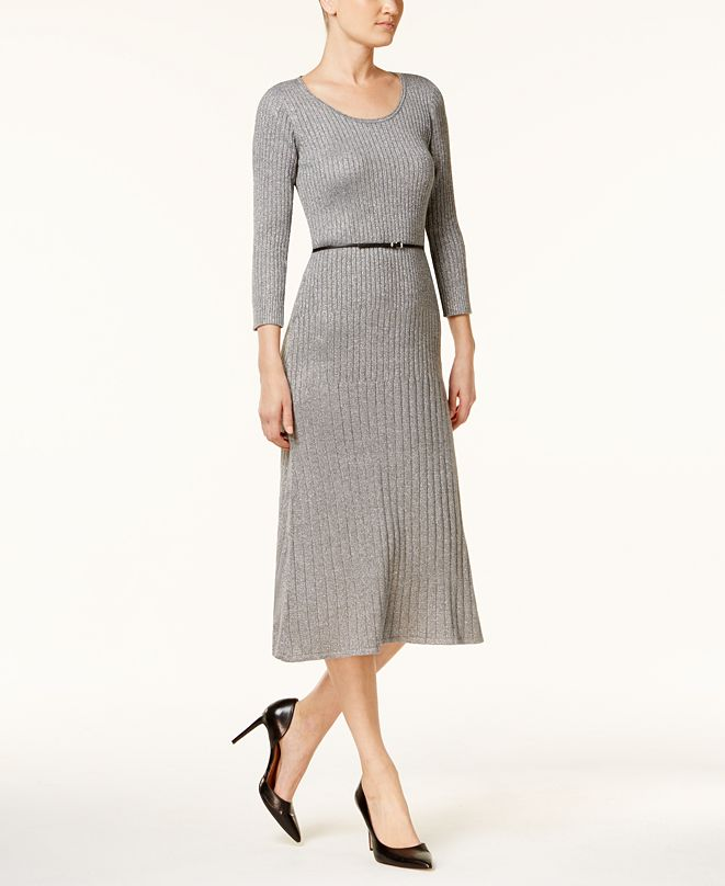 Calvin Klein Belted Sparkle Ribbed Midi Sweater Dress