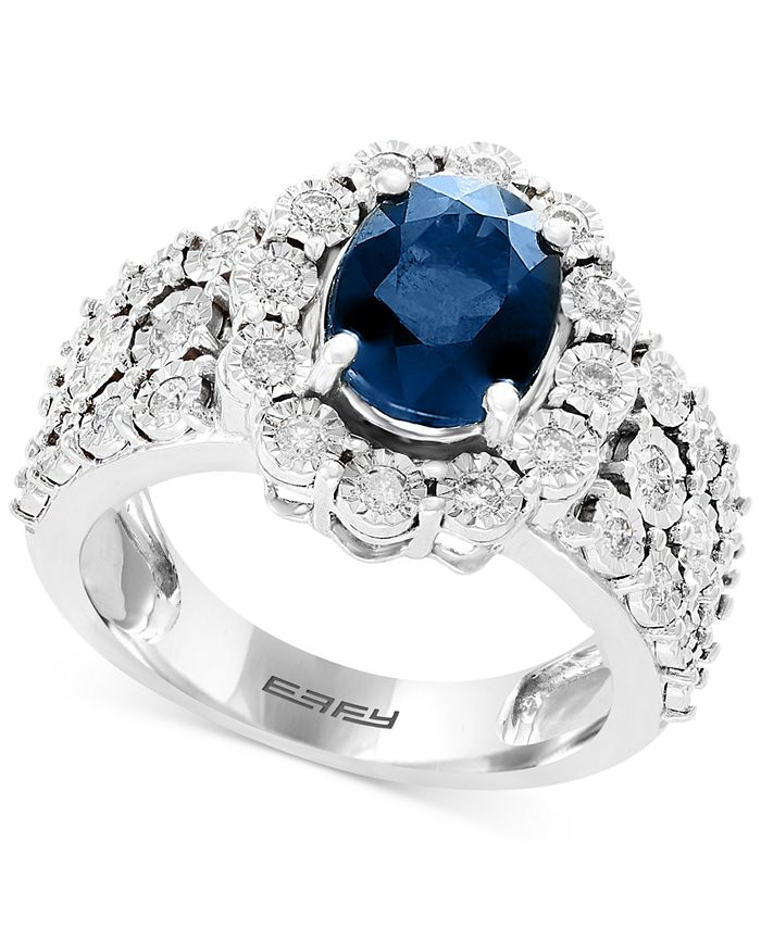 EFFY Collection - Sapphire (1-9/10 ct. t.w.) & Diamond (1/2 ct. t.w.) Ring in 14k White Gold