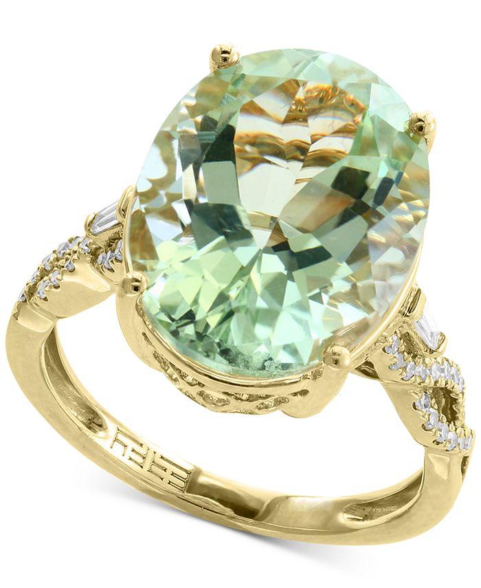 EFFY Collection - Green Quartz (8-3/4 ct. t.w.) & Diamond (1/5 ct. t.w.) Ring in 14k Gold