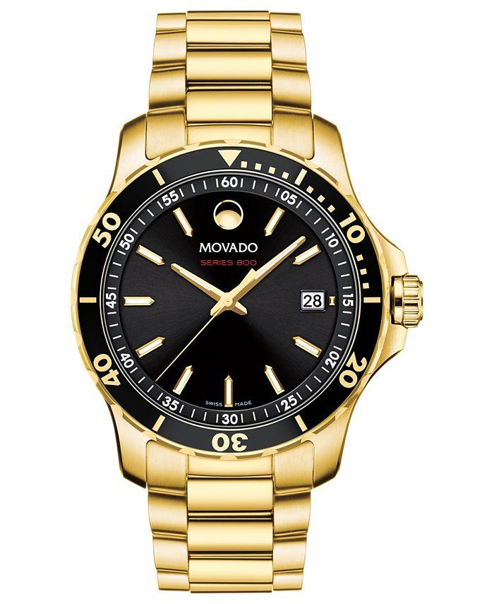 Movado - Men's Swiss Series 800 Gold-Tone PVD Stainless Steel Bracelet Watch 40mm