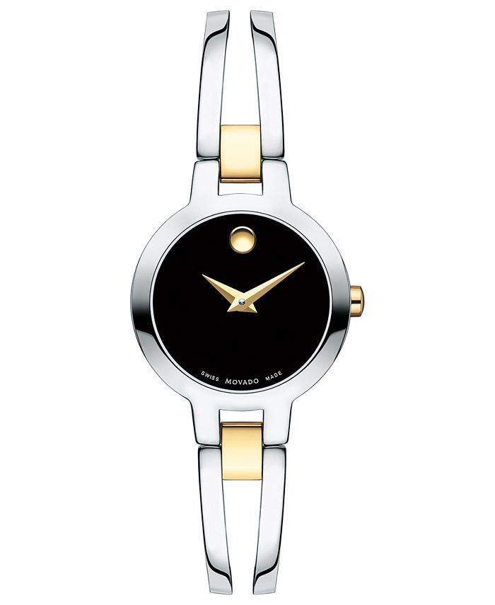 Movado - Women's Swiss Amorosa Two-Tone PVD Stainless Steel Bangle Bracelet Watch 24mm