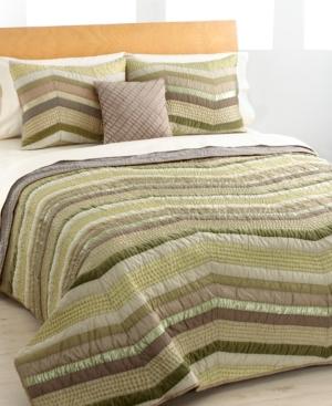 Green Chevron Full/Queen Quilt Bedding