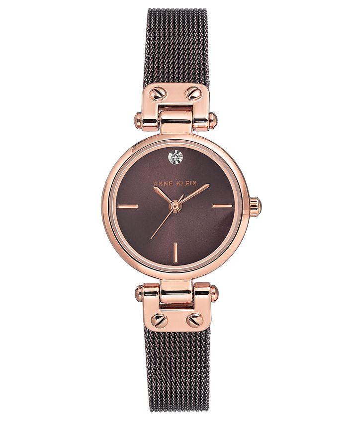 Anne Klein - Women's Diamond-Accent Brown Stainless Steel Mesh Bracelet Watch 26mm
