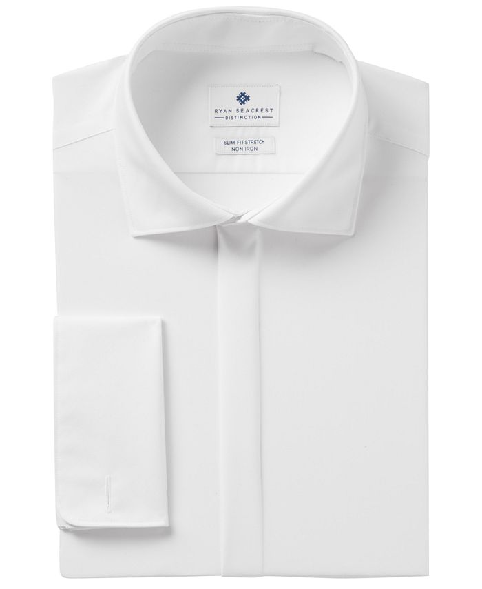 Ryan Seacrest Distinction - Men's Slim-Fit Stretch Non-Iron White Covered Placket French Cuff Dress Shirt, Created for Macy's