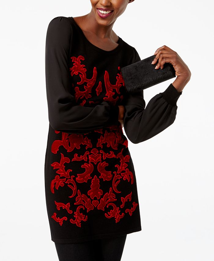 INC International Concepts - Petite Velvet-Pattern Sweater