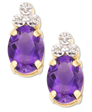 14k Gold Amethyst & Diamond Accent Earrings