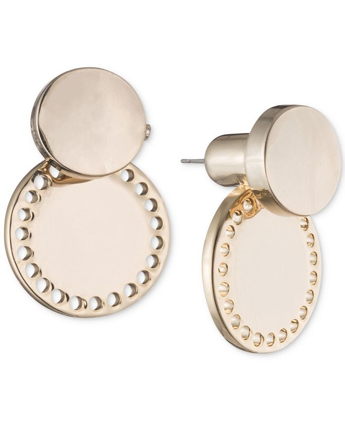 DKNY - Gold-Tone Perforated Circle Jacket Earrings
