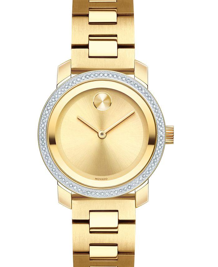 Movado - Women's Swiss BOLD Diamond (1/3 ct. t.w.) Gold-Tone Stainless Steel Bracelet Watch 30mm