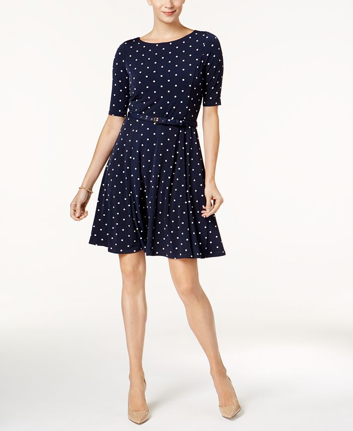 Charter Club - Petite Belted Dot-Print Fit & Flare Dress