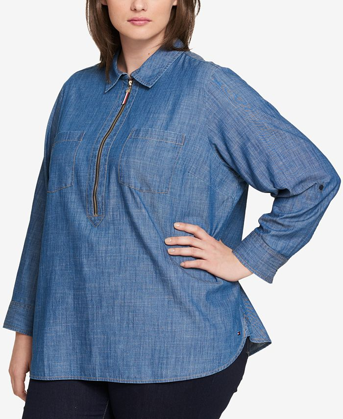 Tommy Hilfiger - Plus Size Cotton Chambray Shirt