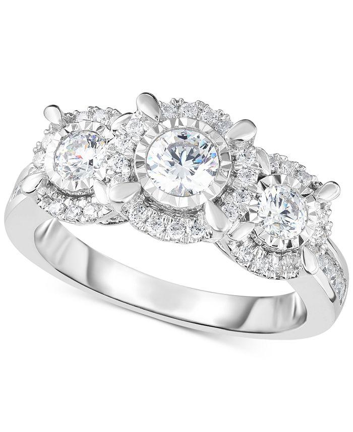 Macy's - Diamond Halo Trinity Ring (1 ct. t.w.) in 14k White Gold