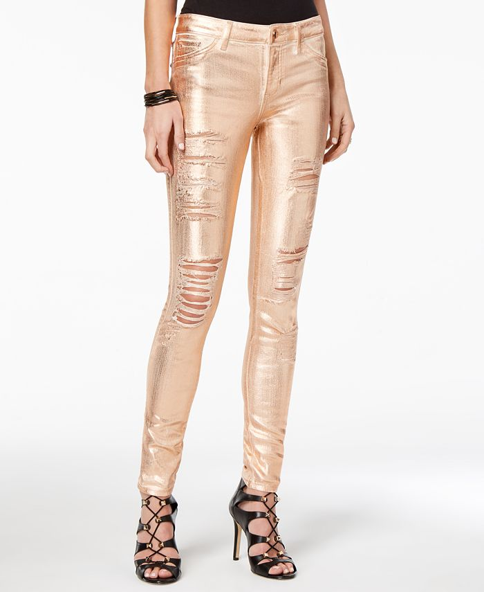 GUESS - Metallic Ripped Skinny Jeans