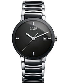 Rado Men's Swiss Automatic Centrix Diamond-Accent Stainless Steel & Black High-Tech Ceramic Bracelet Watch 38mm