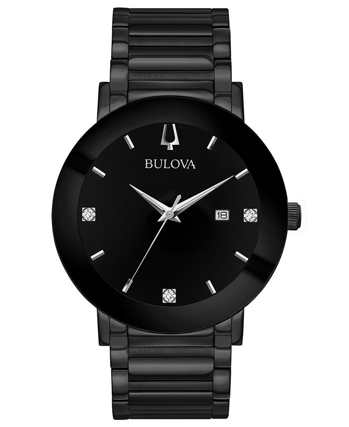 Bulova - Men's Diamond-Accent Black Stainless Steel Bracelet Watch 42mm