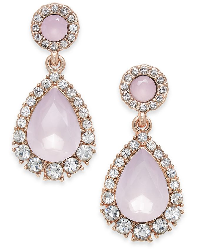 Charter Club - Rose Gold-Tone Pavé & Pink Stone Drop Earrings