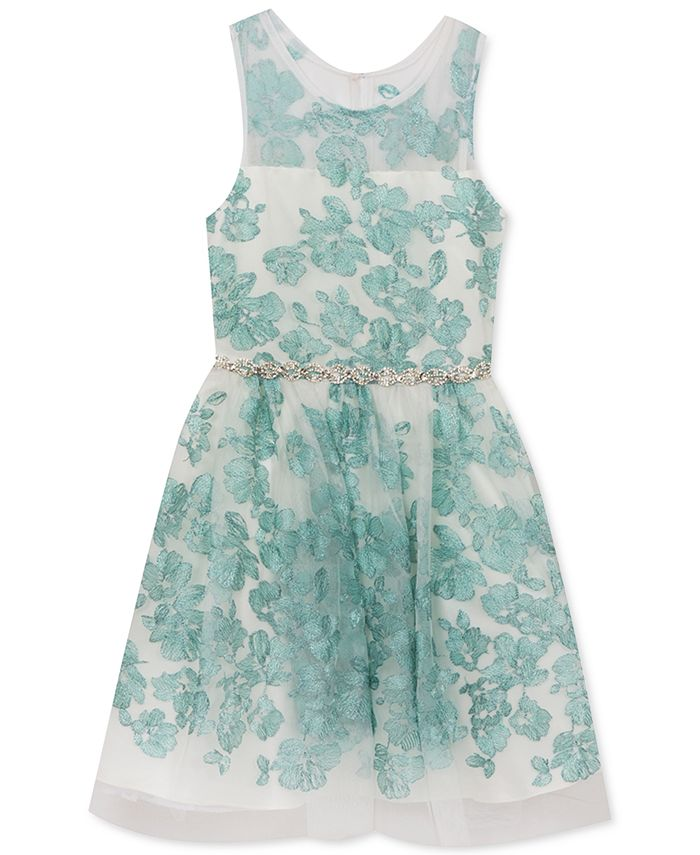 Rare Editions - Mint Floral Embroidered Dress, Little Girls (2-6X)