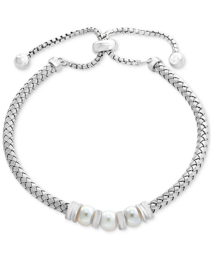 EFFY Collection EFFY® Cultured Freshwater Pearl (6mm) Bolo Bracelet in Sterling Silver & Reviews - Bracelets - Jewelry & Watches - Macy's