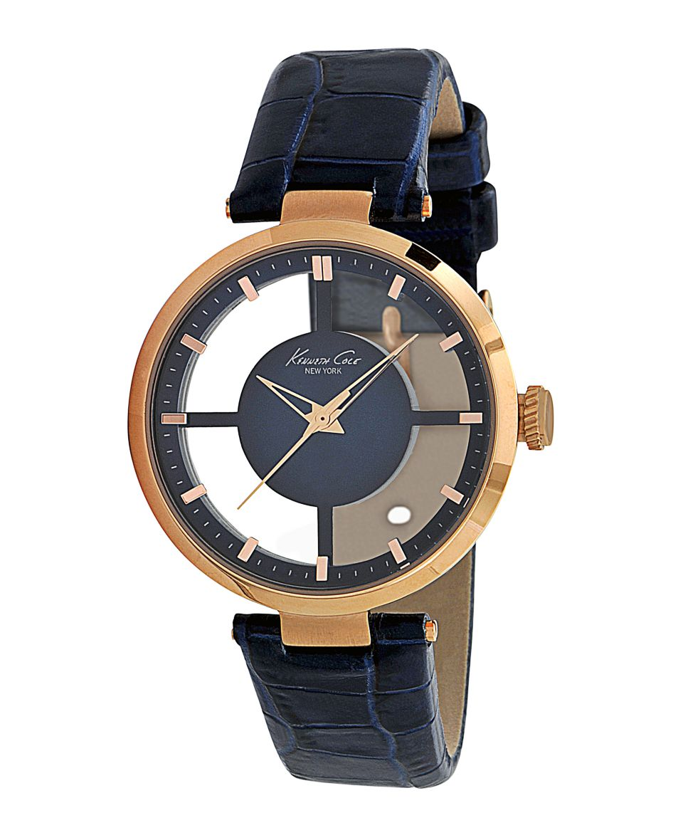 Kenneth Cole New York Watch, Womens Navy Blue Croc Embossed Leather Strap KC2643   Watches   Jewelry & Watches