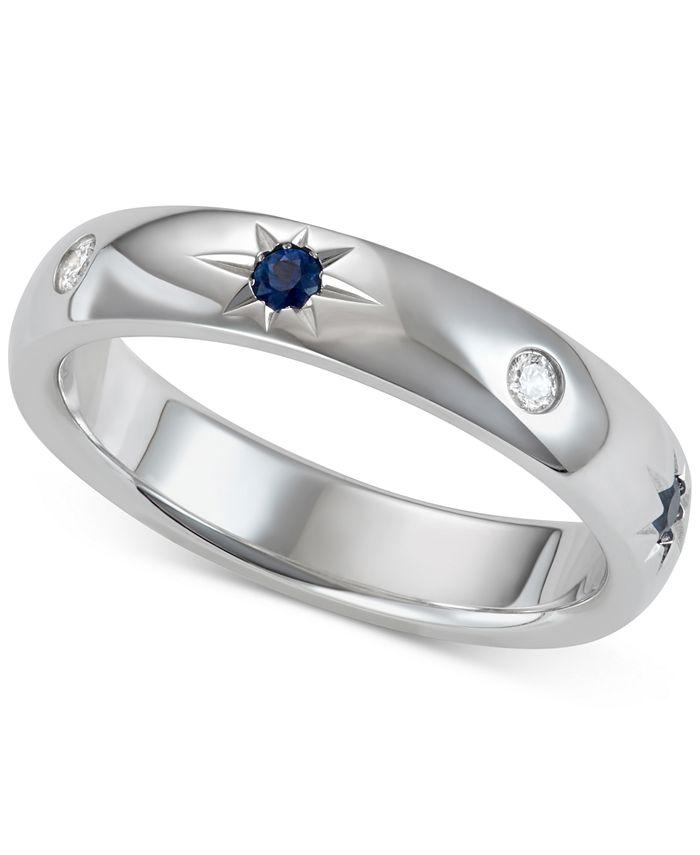 Marchesa - Sapphire (1/5 ct. t.w.) & Diamond (1/10 ct. t.w.) Band in 18k White Gold