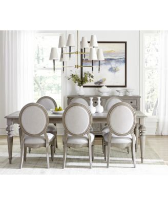 Elina Expandable Dining Furniture, 7-Pc. Set (Dining Table & 6 Upholstered Side Chairs), Created for Macy's