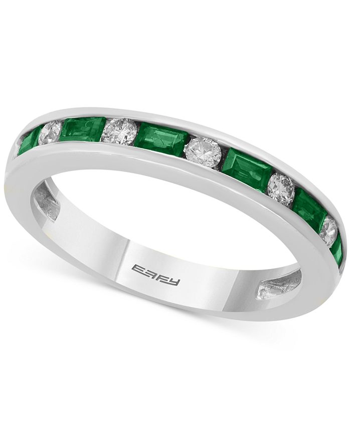 EFFY Collection - Bridal by EFFY® Emerald (1/2 ct. t.w.) & Diamond (1/6 ct. t.w.) Band in 18k White Gold